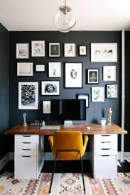 home office dark blue gallery wall. Small Space Design Home Office With Black Walls Dark Blue Gallery Wall