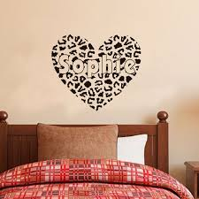 cheetah print wall decals customised cheetah print heart wall decals any name lettering wall sticker home