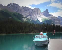 jasper national park photo gne lake boat scene dh wall s   gne lake boat scene photo