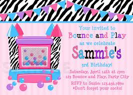 Print Birthday Invitation Bounce House Girls Birthday Invitation