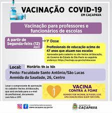 Vacinação para professores e funcionários de escolas cadastrados começa  segunda-feira - Prefeitura de Caçapava