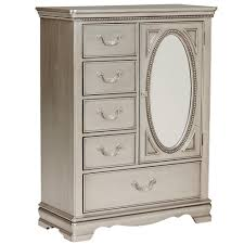 Standard Furniture Jessica Silver Wardrobe Chest with Oval Glass