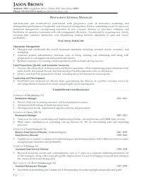 Restaurant General Manager Resume Megakravmaga Com