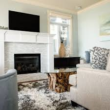 white tile flooring living room. Inspiration For A Mid-sized Beach Style Open Concept Living Room Remodel In  Vancouver With White Tile Flooring E