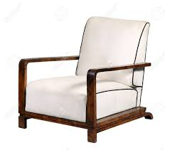 Image Dining Decorative White Leather Armchair With Wooden Arms And Base On Short Legs Isolated On White Background 123rfcom Decorative White Leather Armchair With Wooden Arms And Base On