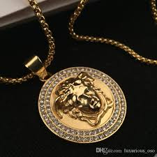 fashion medusa head 18k gold plated pendant necklace crystal rhinestone hip hop chain necklace jewelry rap jewelry hip hop necklace medusa pendant necklace