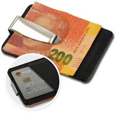 picture of steel leather moneyclip cardholder