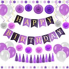 Purple Happy Birthday Banner Amazon Com Purple Happy Birthday Party Decorations Supplies Set