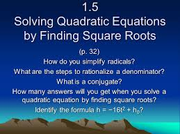 5 3 solving quadratic equations by finding square roots p 264