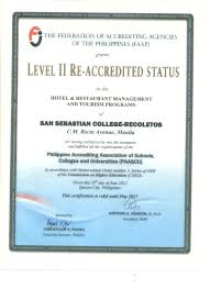 office of accreditation planning and development san sebastian  certificate of accreditation hotel restaurant management and tourism programs level ii faap