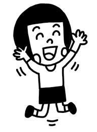 跳んで喜ぶ女の子のイラスト 白黒ヤギさん フリー素材イラスト