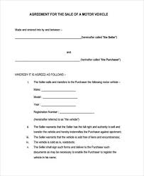 Motor Vehicle Sale Agreement Free 29 Sample Sales Agreement Forms Pdf