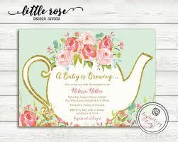 Tea Invitations Printable A Baby Is Brewing Baby Shower Tea Party Invitation Garden Tea
