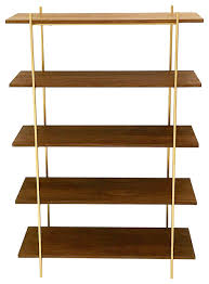 midcentury style walnut and gold wall unit