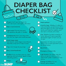 baby item checklist diaper bag checklist what to pack in a diaper bag