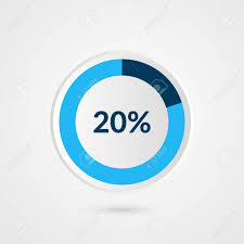 Pie Chart 20 20 Percent Blue Grey And White Pie Chart Percentage Vector Infographics