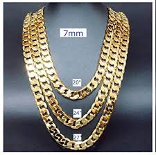 gold chain necklace 7mm 24kt diamond cut smooth cuban link with a usa made