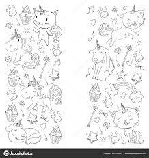 Eenhoorn Katten Hond Paard Pony Vector Afbeelding Kleurplaat
