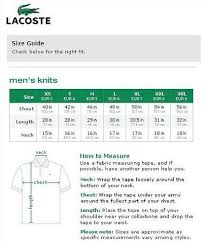 Lacoste Size Chart Jacket Purchasing Authentic Ralph Lauren Lacoste Shirts On