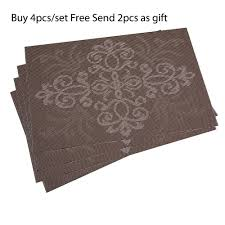 4pcsset Free Send 2pcs Kitchen Table Mats Pvc Chinese Knot Pattern Table Placemats Insulation Pads Napkin Cup Wine Mat