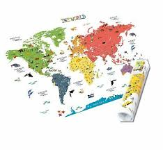 The jungle animals travel world map of continents peel & stick wall decals art stickers with countries and national flags for kids learning living room will be a fantastic way см. Homeevolution Kids Educational Removable World Map Peel And Stick Large Wall 16 99 Picclick