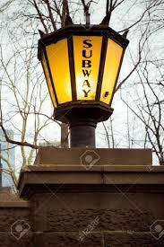 lantern style lighting. Stock Photo - Vintage Lantern Style Light Outside New York City Subway Entrance Lighting