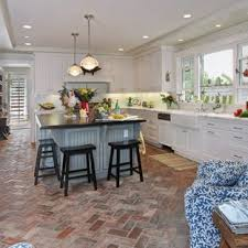 Wall Tiles Inspiration For Beach Style Brick Floor Kitchen Remodel In Orange County With Farmhouse Sink Brick Floor Tile Kitchen Brick Floor Houzz