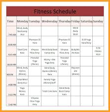 Group Fitness Class Schedule Weekly Template Yoga – Shopsapphire