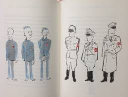 the boy in the striped pyjamas the letterpress project dark inky blues grade into looming ominous blacks as two small boys stand hand in hand in front of a monstrous towering nazi prison guard