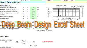 How To Design A Beam The Deep Beam Design Using Excel Spreadsheets