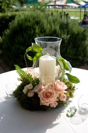 Reception decor - hurricane globe and pillar candle with floral wreath -  champagne roses = garden wedding
