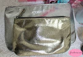 pink mauve roses victorias secret glitter sparkle makeup bags free with purchase 2016
