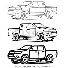 truck drawing outline.  Outline Pickup Truck Outline Set On White Background Drawing Vector Illustration Throughout E