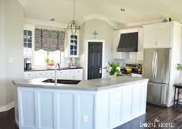 pine wood light grey yardley door painting kitchen cabinets diy backsplash herringbone tile stone quartz countertops sink faucet island lighting flooring