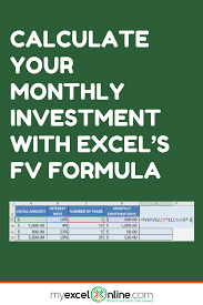 Monthly Investment Formula In Excel Excel Tips Microsoft