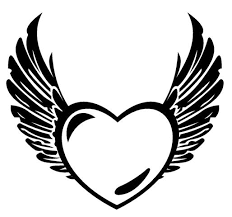 Small Picture Heart with wings and banner coloring pages ColoringStar