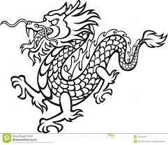 Dragon City Kleurplaat Schwarzweiss Drache Vektor Abbildung