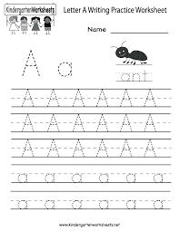 Writing Worksheet For Kindergarten Handwriting Printable ...