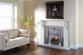 stovax victorian corbel stone mantel in antique white marble with burlington polished cast front and art deco firebasket with ashpan cover