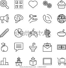 Graphite Bar Chart Thin Line Vector Icon Set Heart Stock Vector Royalty Free
