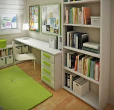 Interesting Small Room Desk Ideas Minimalistic White Study Desk And Racks  With Green Accent For