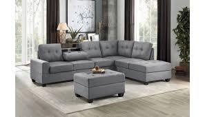 on grey microfiber sectional sofa