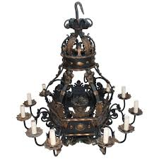 very large and rare french 1930 wrought iron chandelier for