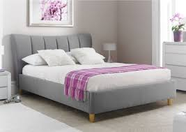 grey upholstered bed king. Beautiful King Upholstered Sleigh Bed Grey