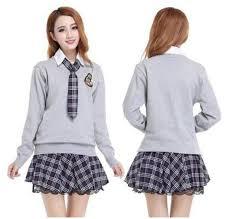 Uniform cute college teen