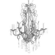 Kronleuchter Shabby Grey 6 Armig Antik Grau Hellgrau Aus Eisen Mit Kristallen
