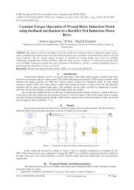pdf constant torque operation of wound rotor induction motor using feedback mechanism in a rectifier fed induction motor drive