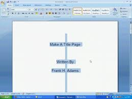 Word 112 A Make A Title Page