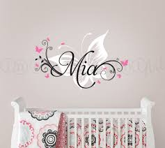 Small Picture Butterfly and Custom Name Wall Decal Butterfly Nursery Decal