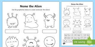 There are a variety of synthetic phonics programmes, and may be broken down differently into different phases or stages but they all conform to the following logical sequence Phase 5 Phonics Name The Alien Worksheet Worksheet